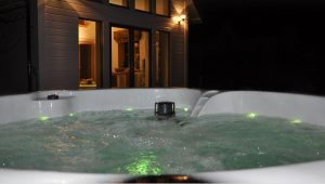 Hot tub at Pool House luxury B&B Loch Ewe
