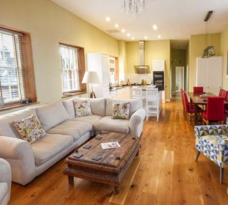 Living area at large group self catering Bromyard